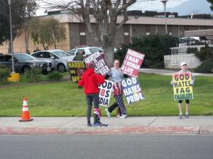 Visitors from Kansas were given a friendly NIMBY greeting Sunday morning