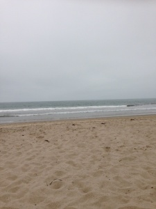Overcast, unremarkable surf, in other words, the PERFECT day at the beach